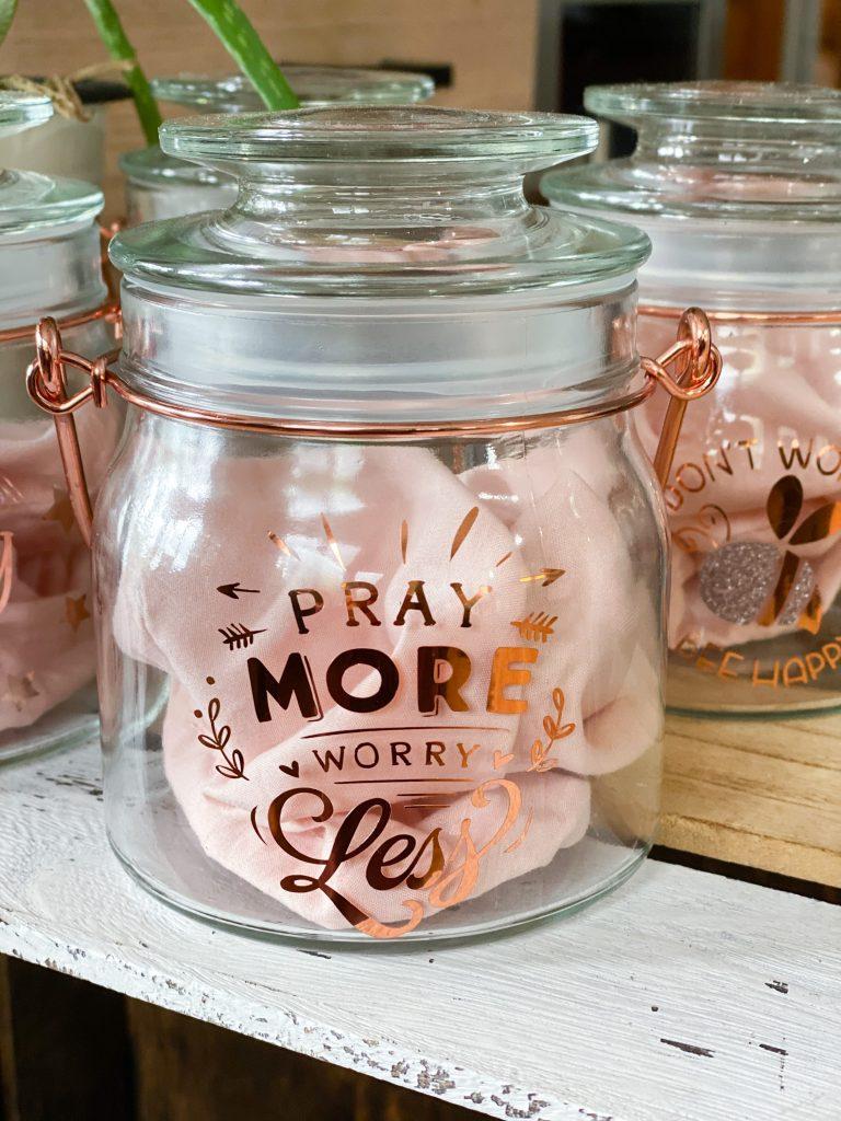 pray more worry less jar